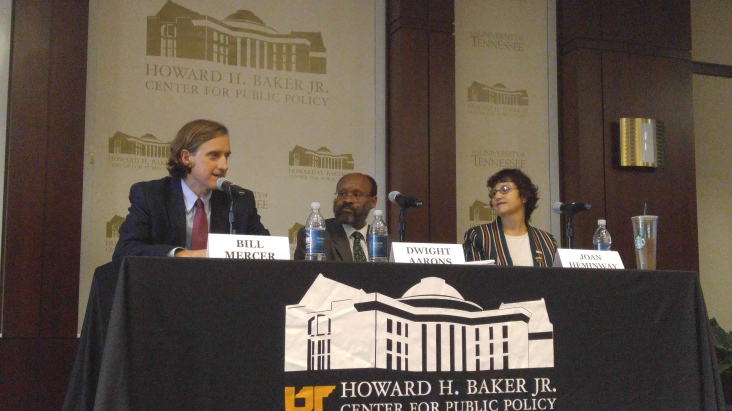 (Left to right) Bill Mercer, Dwight Aarons and Joan Heminway discuss their individual appreciation for the Constitution's statutes.